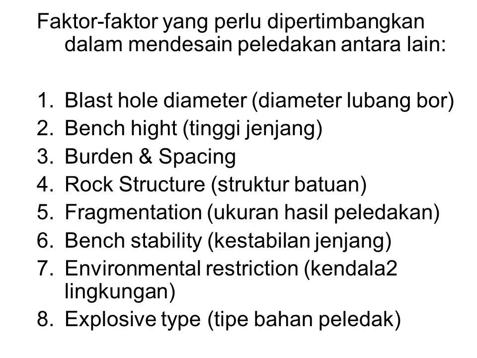 Faktor-faktor yang perlu dipertimbangkan dalam mendesain peledakan antara lain: