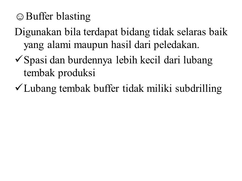 ☺Buffer blasting Digunakan bila terdapat bidang tidak selaras baik yang alami maupun hasil dari peledakan.