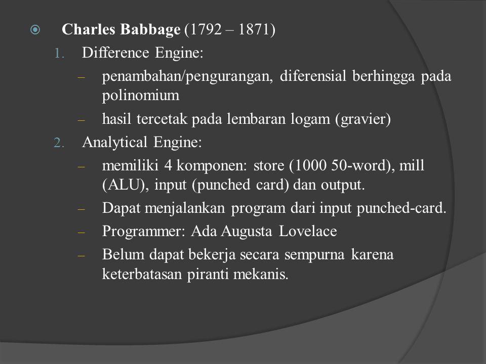 Charles Babbage (1792 – 1871) Difference Engine: penambahan/pengurangan, diferensial berhingga pada polinomium.
