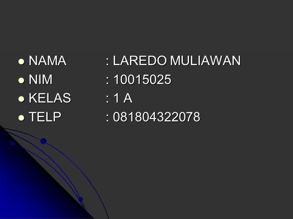 NAMA : LAREDO MULIAWAN NIM : 10015025 KELAS : 1 A TELP : 081804322078