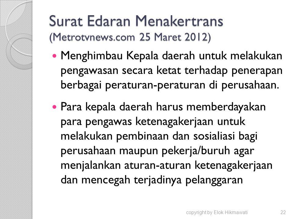 Surat Edaran Menakertrans (Metrotvnews.com 25 Maret 2012)