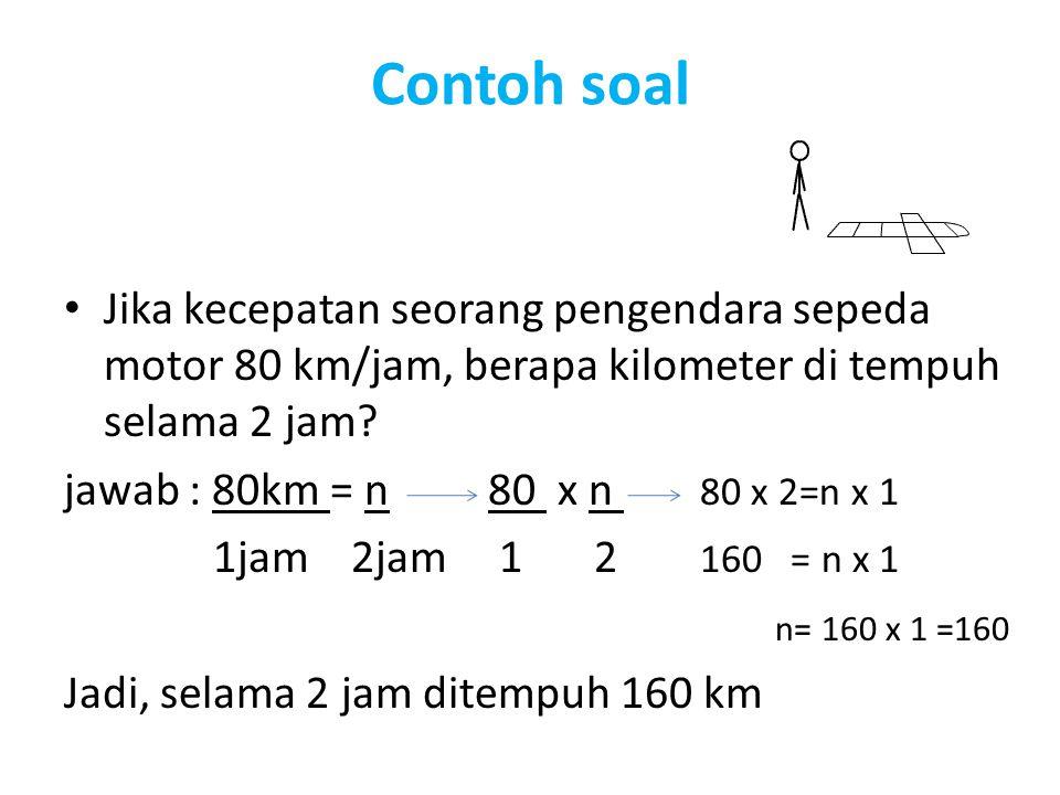 Contoh soal Jika kecepatan seorang pengendara sepeda motor 80 km/jam, berapa kilometer di tempuh selama 2 jam
