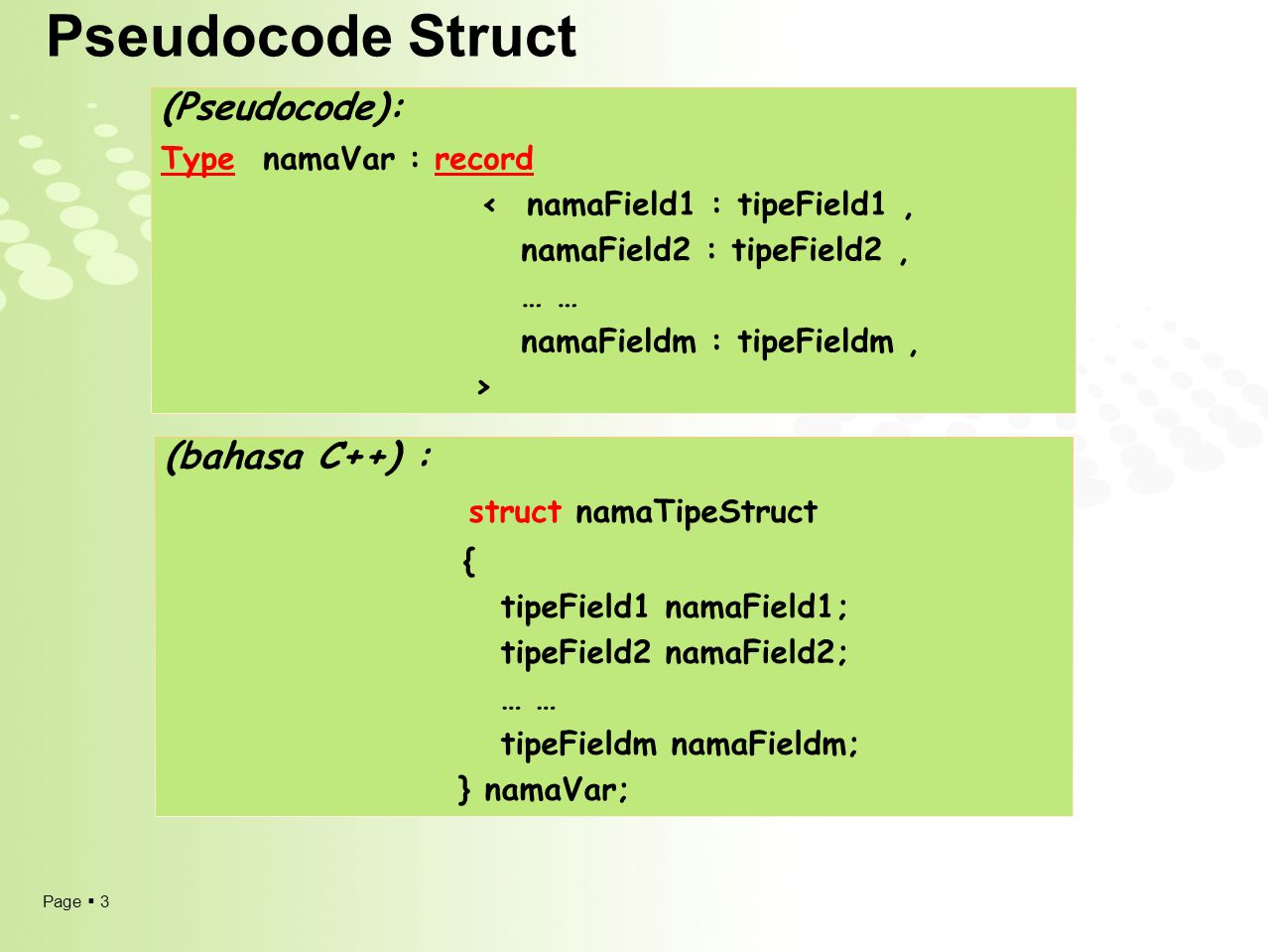 Pseudocode Struct (Pseudocode): (bahasa C++) : struct namaTipeStruct