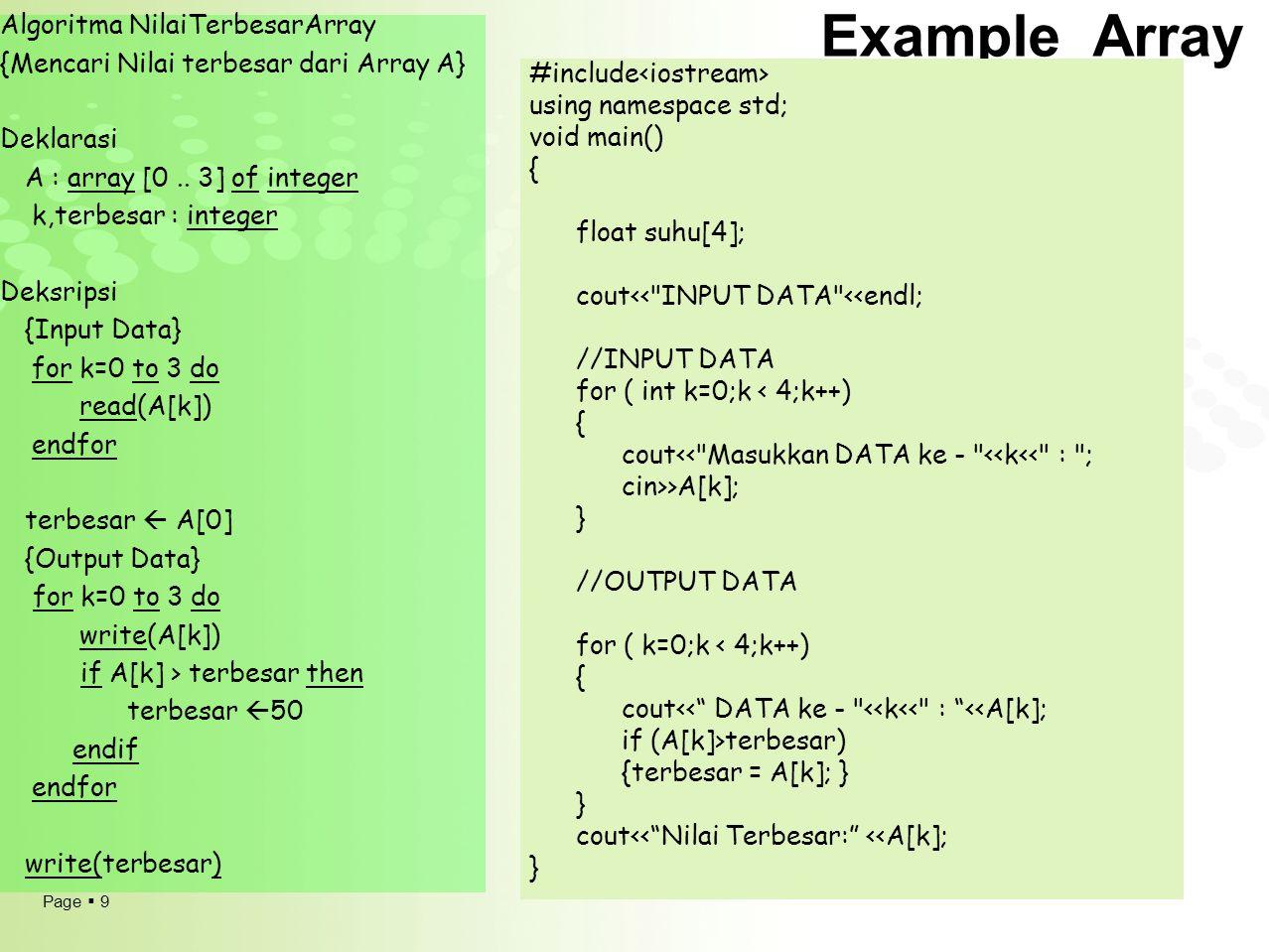 Example Array Algoritma NilaiTerbesarArray