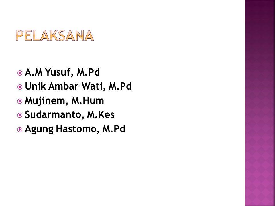 PELAKSANA A.M Yusuf, M.Pd Unik Ambar Wati, M.Pd Mujinem, M.Hum