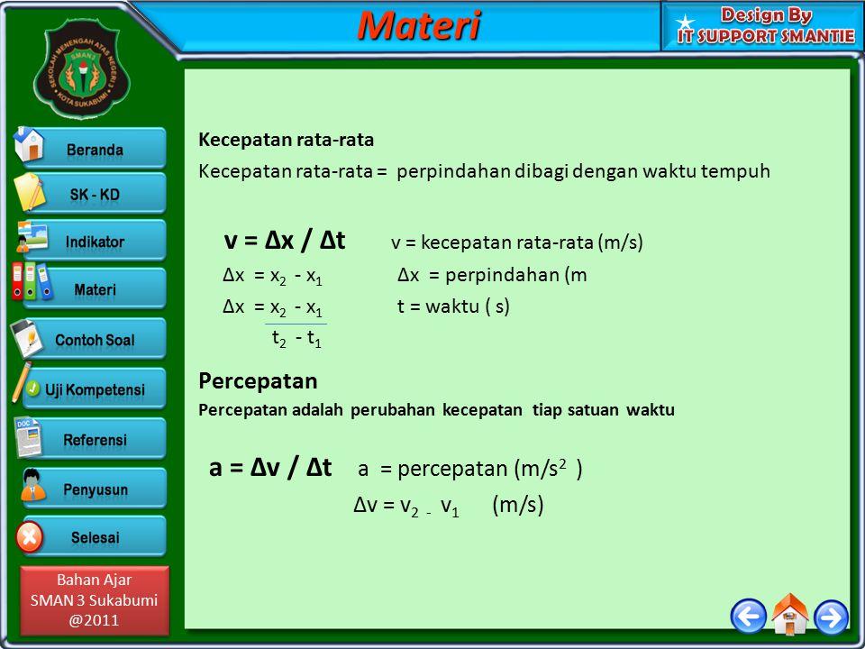 Materi Percepatan v = Δx / Δt v = kecepatan rata-rata (m/s)