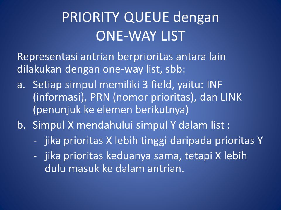 PRIORITY QUEUE dengan ONE-WAY LIST