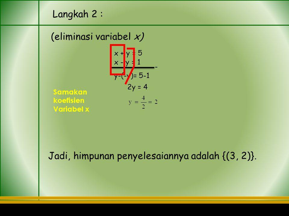 (eliminasi variabel x)