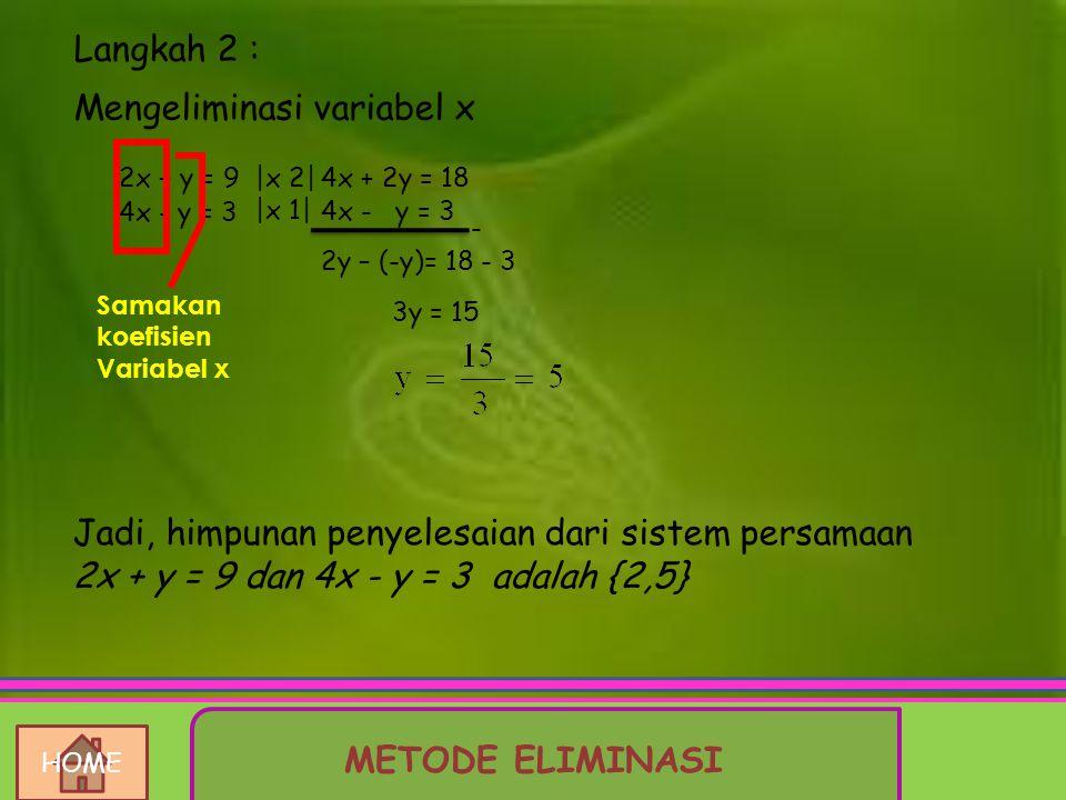 Mengeliminasi variabel x