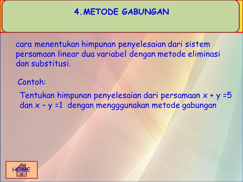 METODE GABUNGAN cara menentukan himpunan penyelesaian dari sistem persamaan linear dua variabel dengan metode eliminasi dan substitusi.