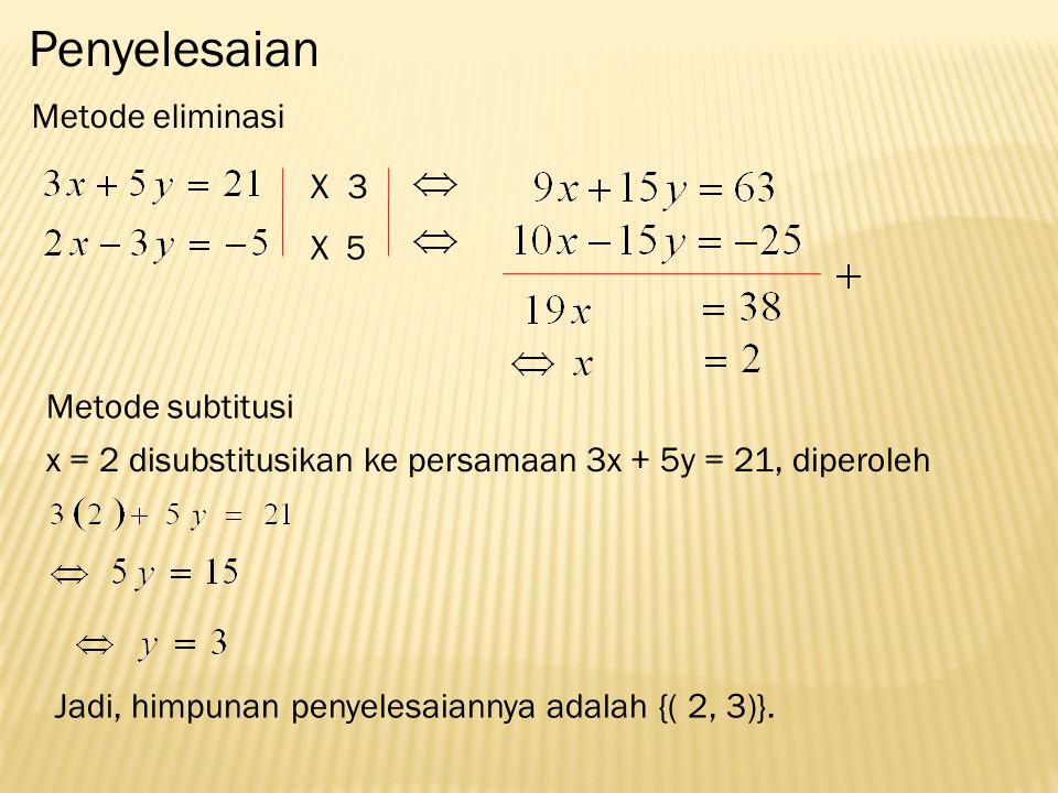 Penyelesaian Metode eliminasi X 3 X 5 Metode subtitusi