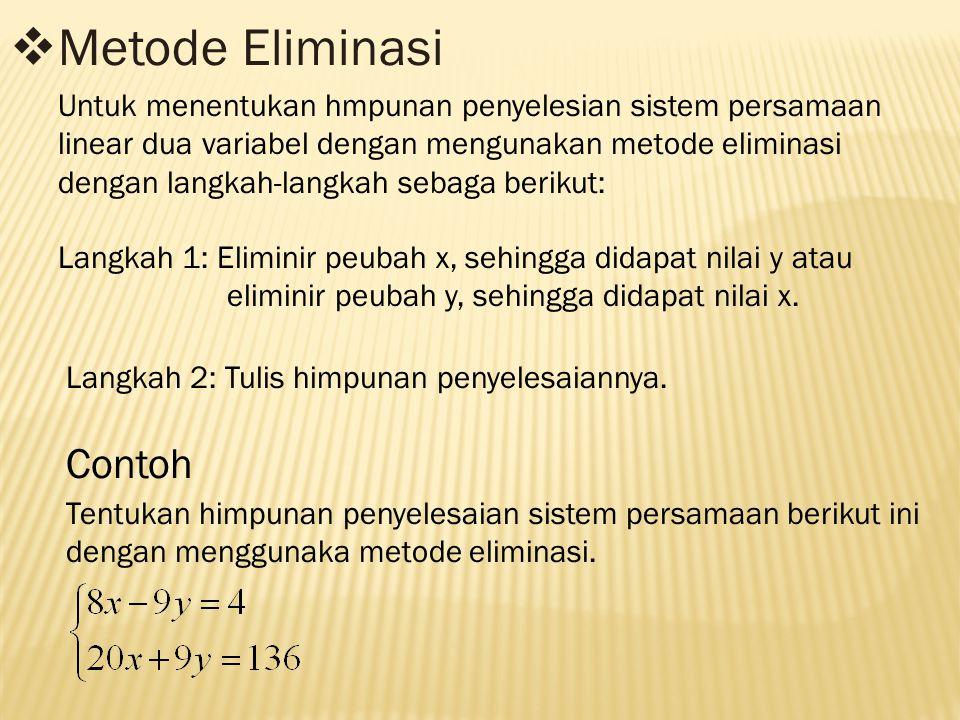 Metode Eliminasi Contoh