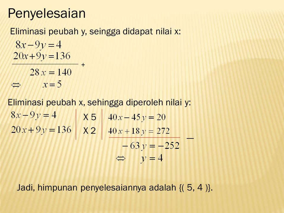 Penyelesaian Eliminasi peubah y, seingga didapat nilai x: