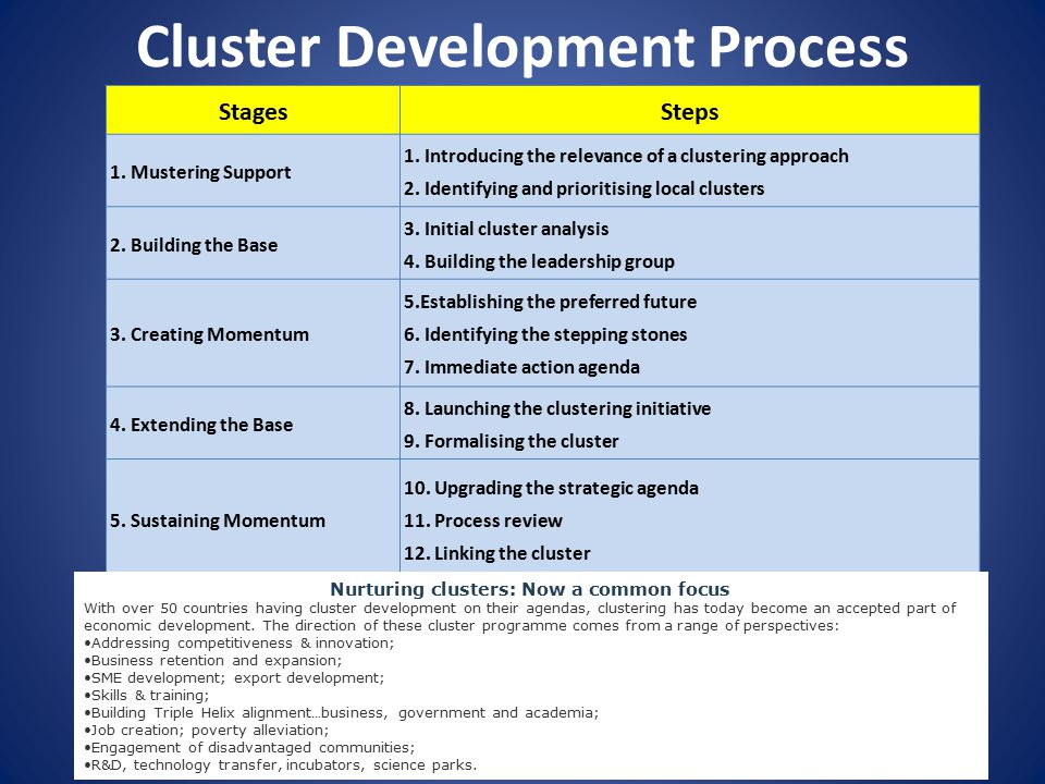 Cluster Development Process