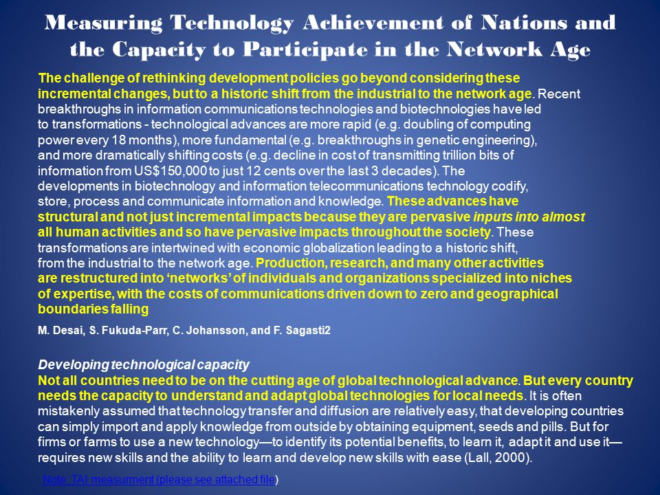 Measuring Technology Achievement of Nations and the Capacity to Participate in the Network Age