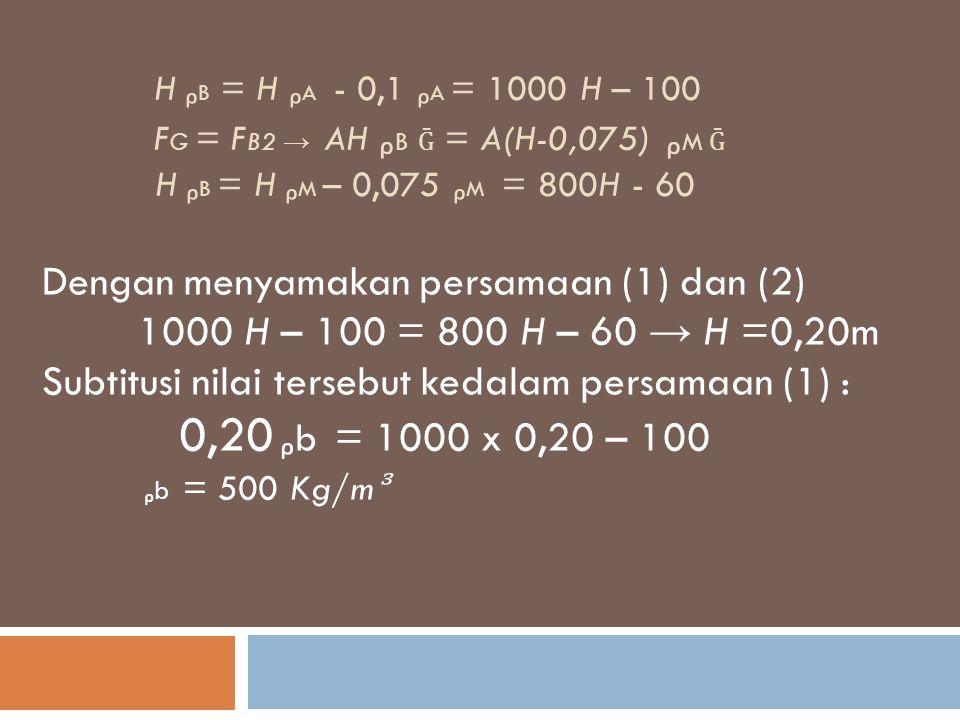 Dengan menyamakan persamaan (1) dan (2)