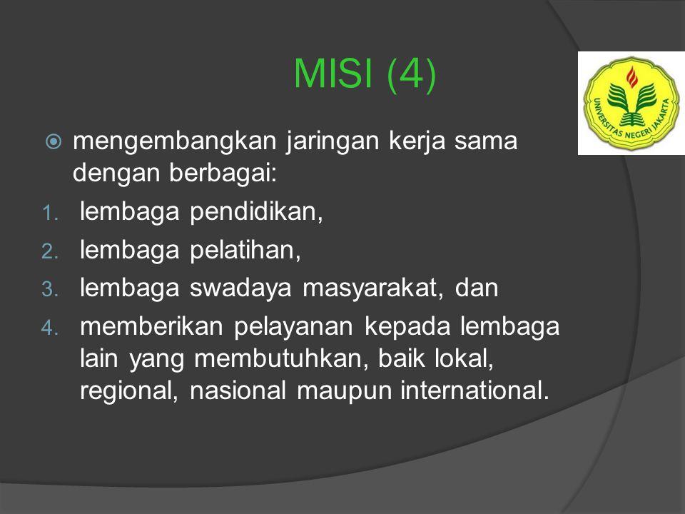 MISI (4) mengembangkan jaringan kerja sama dengan berbagai:
