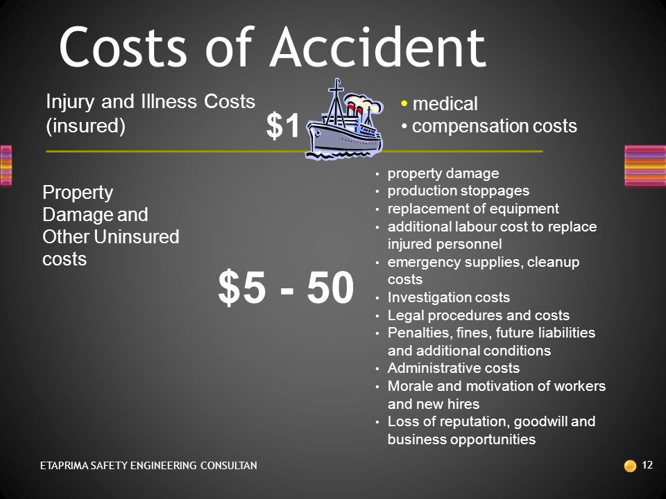 Costs of Accident $5 - 50 $1 Injury and Illness Costs (insured)‏