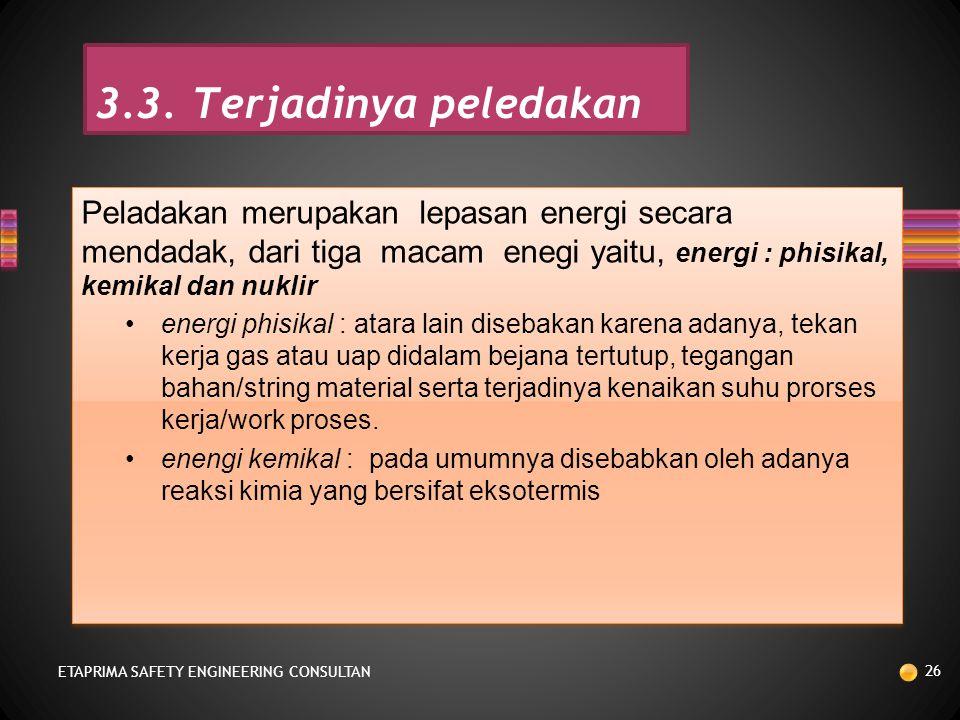 3.3. Terjadinya peledakan Peladakan merupakan lepasan energi secara mendadak, dari tiga macam enegi yaitu, energi : phisikal, kemikal dan nuklir.