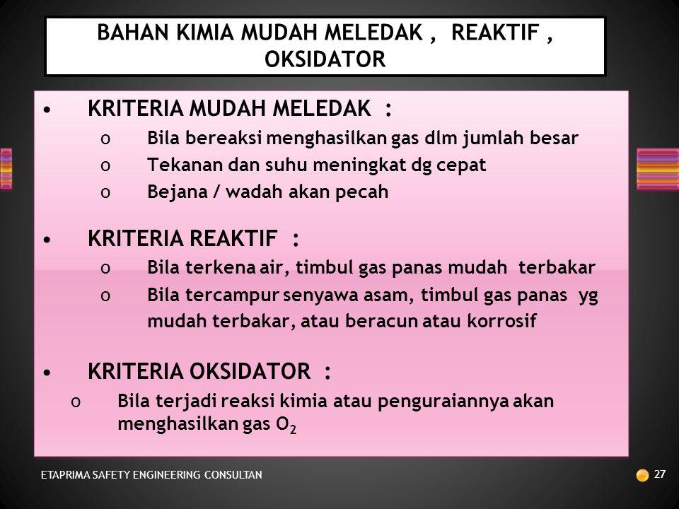 BAHAN KIMIA MUDAH MELEDAK , REAKTIF , OKSIDATOR