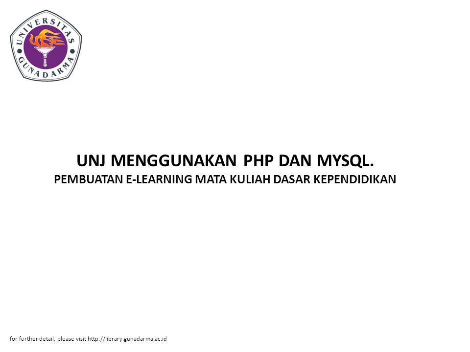 UNJ MENGGUNAKAN PHP DAN MYSQL
