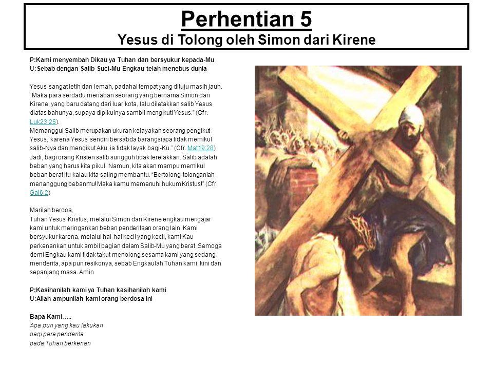 Perhentian 5 Yesus di Tolong oleh Simon dari Kirene