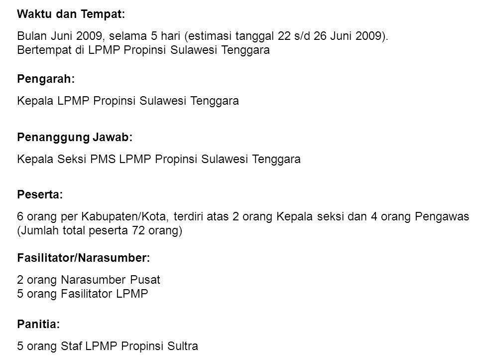 Waktu dan Tempat: Bulan Juni 2009, selama 5 hari (estimasi tanggal 22 s/d 26 Juni 2009). Bertempat di LPMP Propinsi Sulawesi Tenggara.