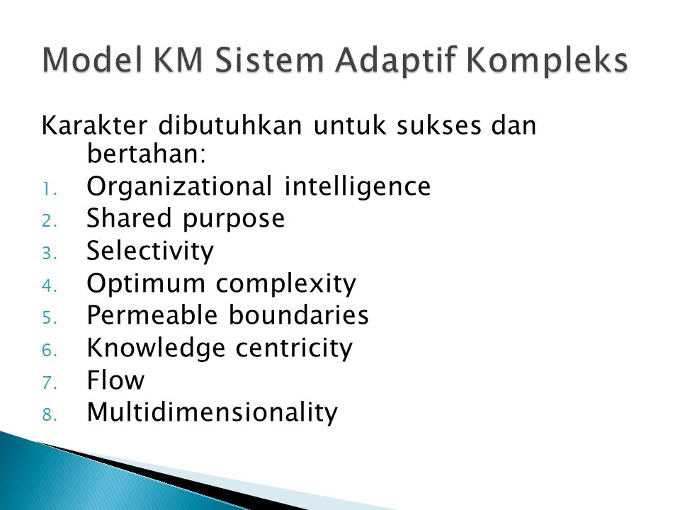Model KM Sistem Adaptif Kompleks