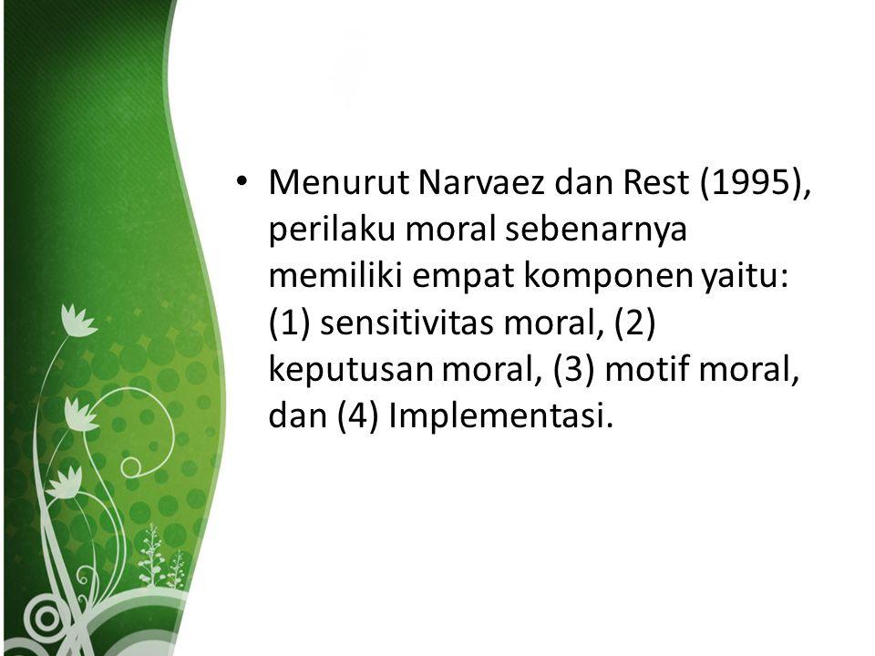 Menurut Narvaez dan Rest (1995), perilaku moral sebenarnya memiliki empat komponen yaitu: (1) sensitivitas moral, (2) keputusan moral, (3) motif moral, dan (4) Implementasi.