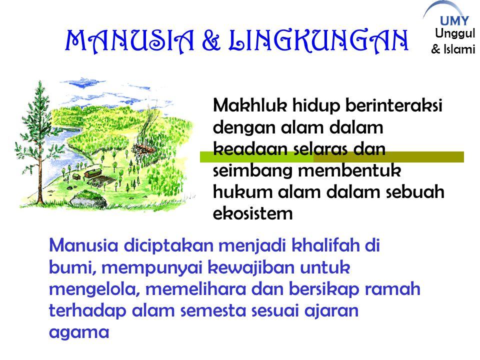 MANUSIA & LINGKUNGAN Makhluk hidup berinteraksi dengan alam dalam keadaan selaras dan seimbang membentuk hukum alam dalam sebuah ekosistem.
