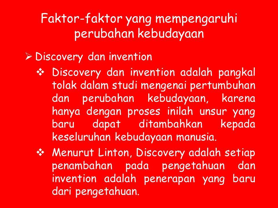 Faktor-faktor yang mempengaruhi perubahan kebudayaan