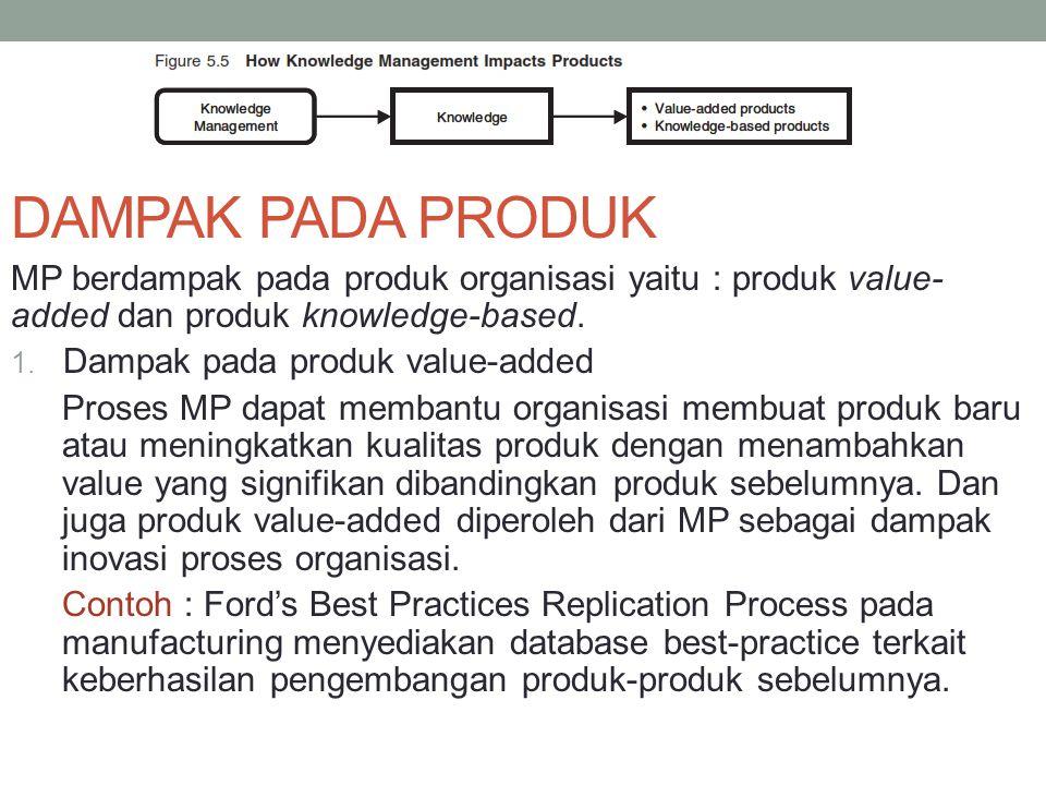 DAMPAK PADA PRODUK MP berdampak pada produk organisasi yaitu : produk value-added dan produk knowledge-based.
