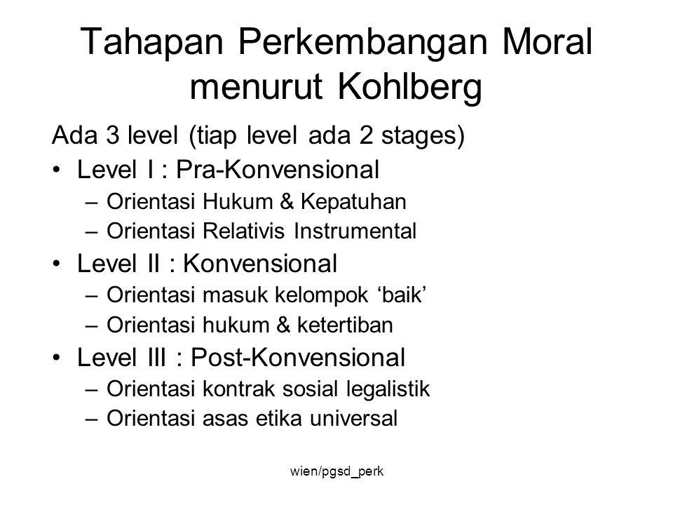 Tahapan Perkembangan Moral menurut Kohlberg