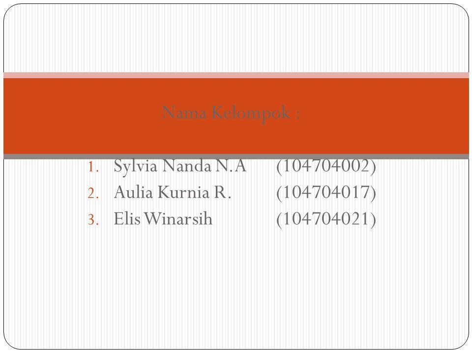 Nama Kelompok : Sylvia Nanda N.A (104704002) Aulia Kurnia R. (104704017) Elis Winarsih (104704021)