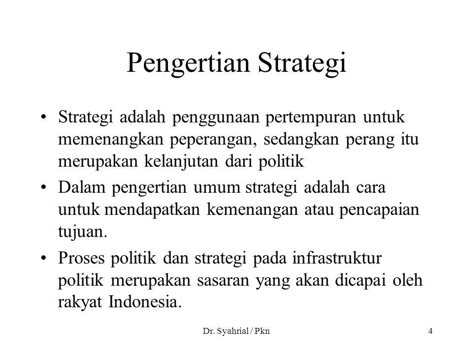 Pengertian Strategi Strategi adalah penggunaan pertempuran untuk memenangkan peperangan, sedangkan perang itu merupakan kelanjutan dari politik.
