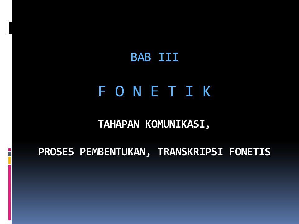 BAB III F O N E T I K TAHAPAN KOMUNIKASI, PROSES PEMBENTUKAN, TRANSKRIPSI FONETIS