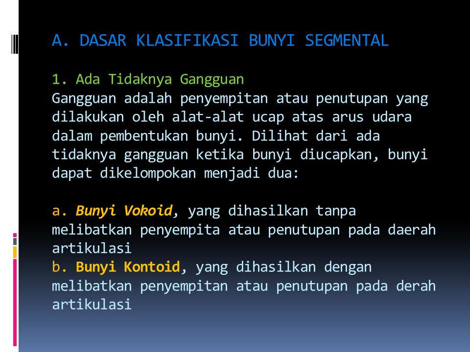A. DASAR KLASIFIKASI BUNYI SEGMENTAL 1