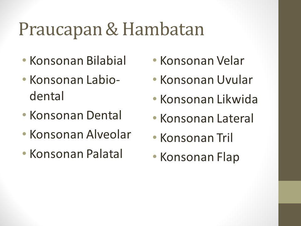 Praucapan & Hambatan Konsonan Bilabial Konsonan Labio-dental