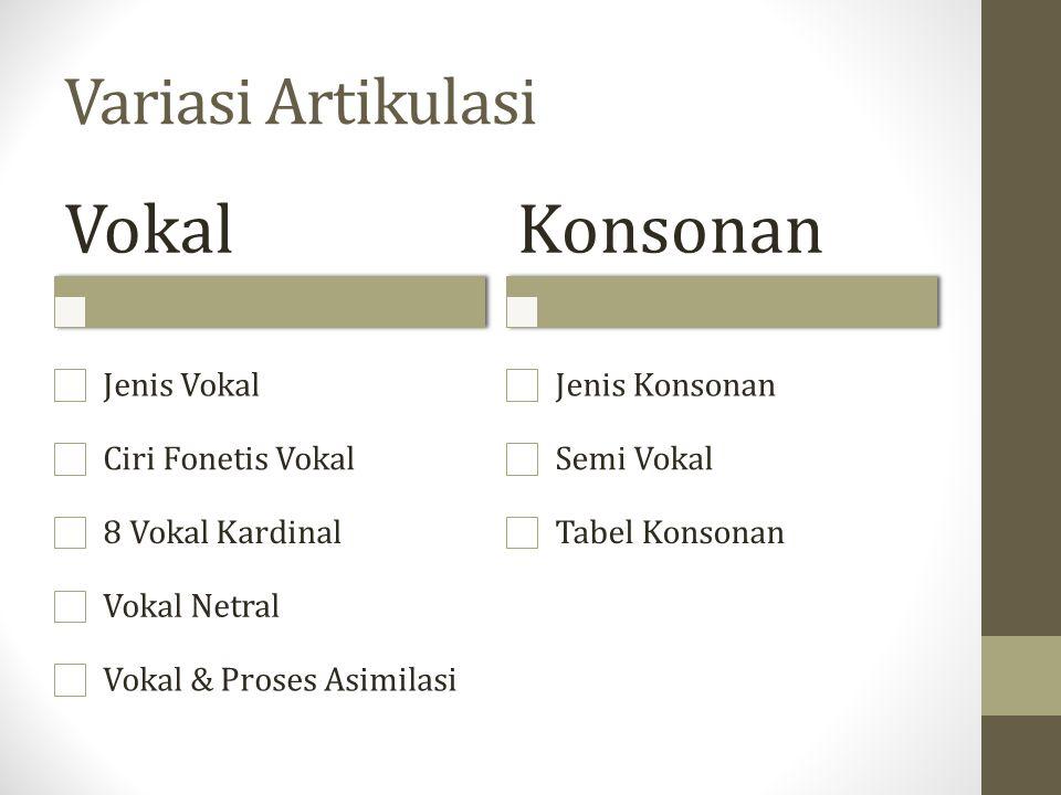 Vokal Konsonan Variasi Artikulasi Jenis Vokal Ciri Fonetis Vokal