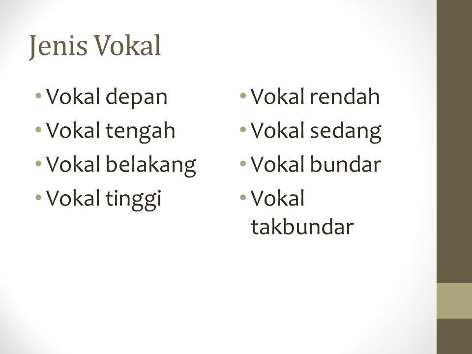 Jenis Vokal Vokal depan Vokal tengah Vokal belakang Vokal tinggi