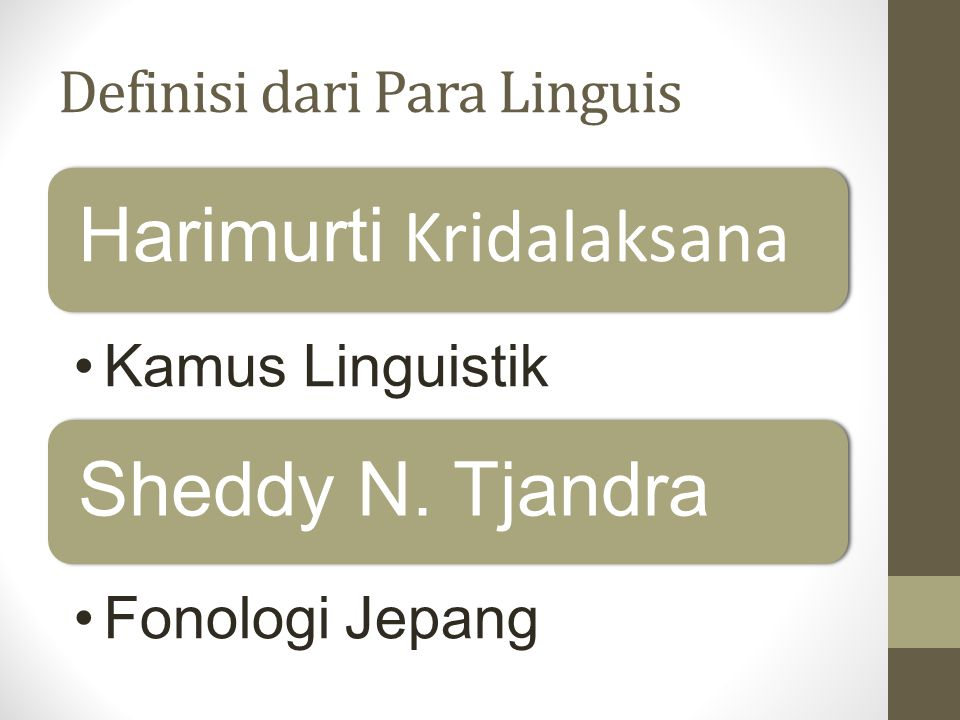 Definisi dari Para Linguis