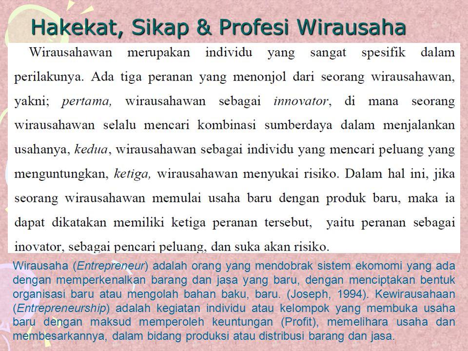 Hakekat, Sikap & Profesi Wirausaha