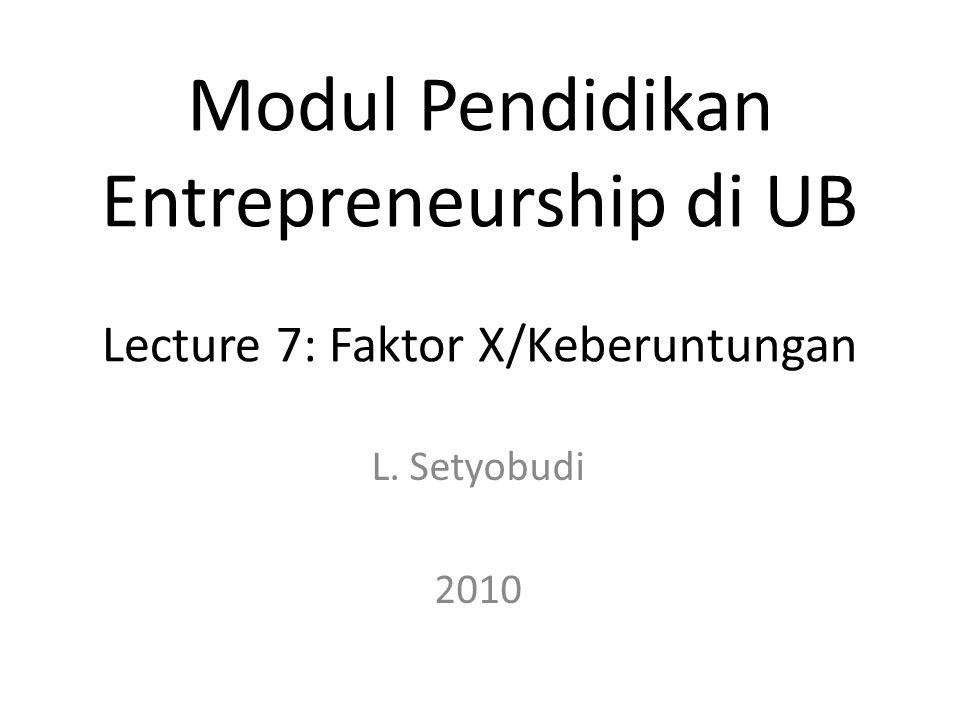 Modul Pendidikan Entrepreneurship di UB Lecture 7: Faktor X/Keberuntungan