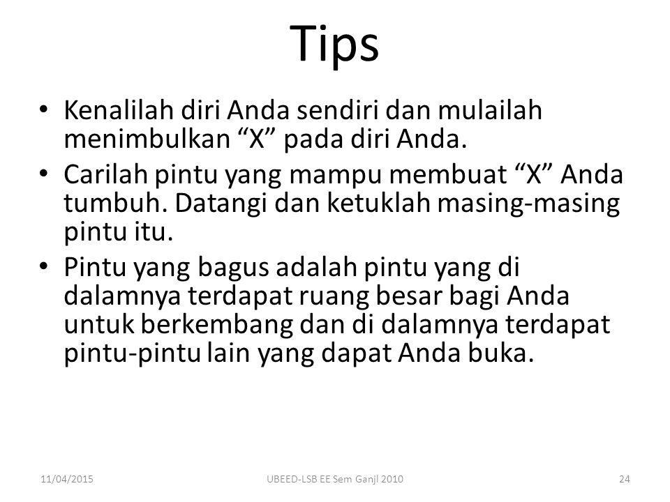 Tips Kenalilah diri Anda sendiri dan mulailah menimbulkan X pada diri Anda.