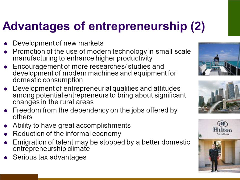 Advantages of entrepreneurship (2)‏
