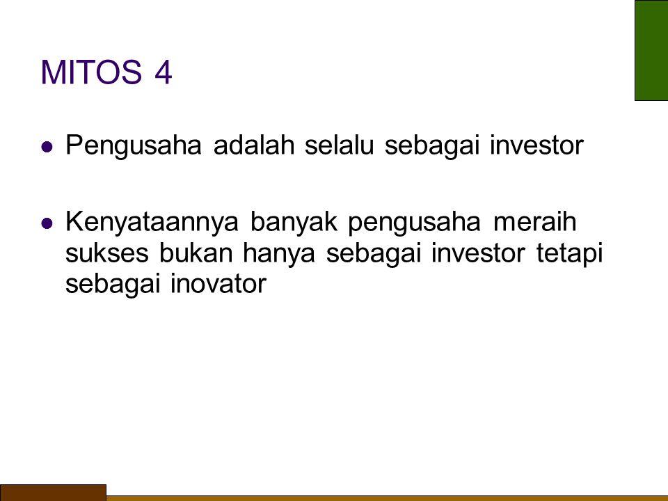 MITOS 4 Pengusaha adalah selalu sebagai investor