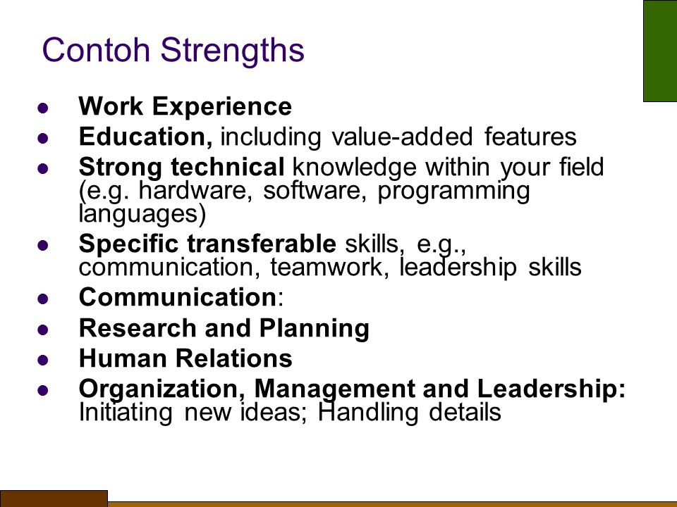 Contoh Strengths Work Experience