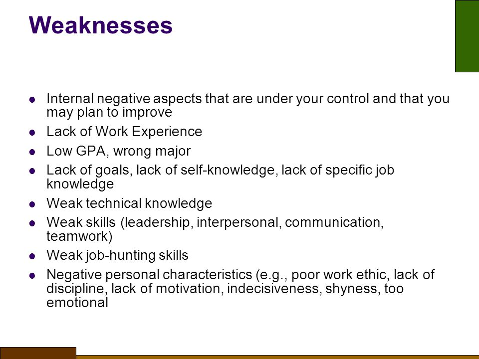 Weaknesses Internal negative aspects that are under your control and that you may plan to improve.