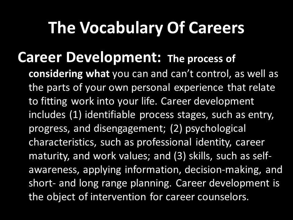 The Vocabulary Of Careers