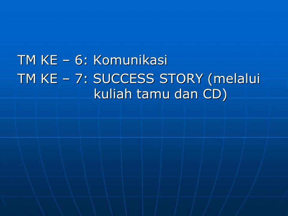 TM KE – 6: Komunikasi TM KE – 7: SUCCESS STORY (melalui kuliah tamu dan CD)
